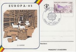 Carte  Maximum  1er  Jour  ANDORRE   L'  Orri    EUROPA    1983 - 1983