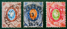 ARMOIRIES 1865 - OBLITERES - YT 14/16 - MI 15/17 - DENTEE 14 1/2 - 15 - 1857-1916 Impero