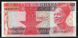 GHANA : Banconota  5 Cedis - 1980/82 - P19 - FDS - Ghana