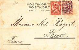 15269# FINLANDE CARTE POSTALE BORGA 1926 BREST FINISTERE BRETAGNE SUOMI FINLAND POSTIKORTT POSTKORT - Finland