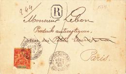 15272# INDOCHINE 40 Cenitmes SEUL / LETTRE RECOMMANDE Obl SAÏGON CENTRAL COCHINCHINE 1899 - Indochina (1889-1945)