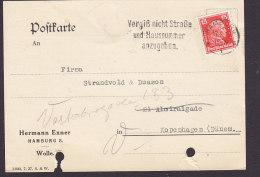 Germany Deutsches Reich HERMANN EXNER Wolle Wool, HAMBURG 1927 Postkarte Denmark Immanuel Kant Stamp (2 Scans) - Deutschland