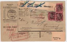 "DR, 1900, Ausland-Paketkarte "" Elberfeld ""  Mit Perfin, #3109 - Covers & Documents"