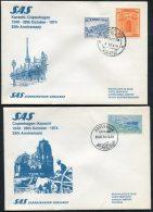 1974 Pakistan Denmark Karachi / Copenhagen SAS Flight Covers (2)