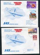 1977 Pakistan Denmark Karachi / Copenhagen SAS First Flight Covers (2)