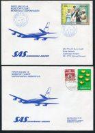 1977 Liberia - Denmark, Monrovia / Copenhagen SAS First Flight Covers (2) - Liberia