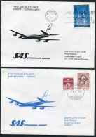 1977 Kuwait - Denmark SAS First Flight Covers (2) - Kuwait