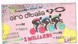 LOTTERIA DEL GIRO CICLISTICO D' ITALIA 1990: - Lottery Tickets