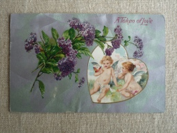 A Token Of Love Embossed Valentine Heart  Angels Watching Butterfly, Purple Flowers Chicago 1909. Voir Photos - Saint-Valentin