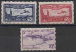 FRANCE - YT PA N° 5 à 7 - Neufs * - MH - Cote: 77,00 € - 1927-1959 Ungebraucht