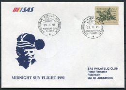 1991 Sweden Kiruna Midnight Sun Polar Circle Jokkmokk SAS Flight Cover
