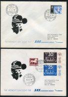 1973,74,75,77,82,83 Sweden Kiruna Midnight Sun Polar Circle Jokkmokk SAS Flight Covers X 6