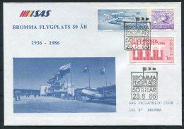 1986 Sweden Bromma Airport 50th Anniversary SAS Flight Cover