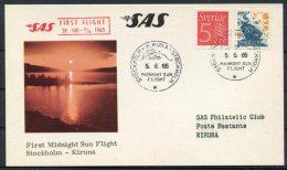 1965 Sweden First SAS Kiruna Midnight Sun Flight Postcard / Slania