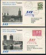 1968 Sweden Norway Stockholm / Oslo SAS First Flight Cards (2)