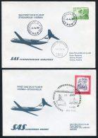 1976 Sweden Austria Vienna Stockholm / Wien SAS First Flight Covers (2)