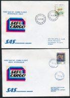 1978 Sweden Norway Stockholm / Gardemoen Oslo SAS First Flight Covers (2)