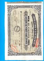"""MOULINS A LIT STRIE -H LONG &Cie -MARSEILLE-Action De 25 Francs  5 Juil 1855 Cachets Fiscaux Au Dos-""""LIBEREE"""" - Industrie"""