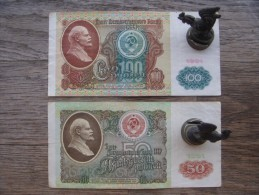 100 And 50 Rubles USSR (Russian Occupation). 1991 - Ukraine