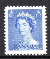 Canada 1953 QEII Definitives - 5c Ultramarine MNH - Unused Stamps