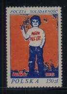 POLAND SOLIDARITY SOLIDARNOSC 1983 5TH ANNIV OF THE TRADE UNION CHILD PEACE SIGN - Vignette Solidarnosc