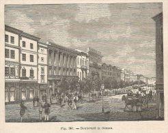 A2194 Boulevard In Odessa - Xilografia - Stampa Antica Del 1895 - Engraving - Prints & Engravings