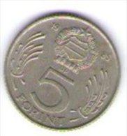 Ungheria Magyar 5 Forint 1985 - Ungheria
