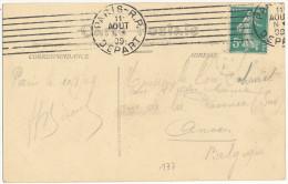 1909 CARTE DE VUE 'PARIS-PARC MONCEAU' Y&T 137 De PARIS-R.P. DEPART à ANVERS VOIR SCANS - Covers & Documents