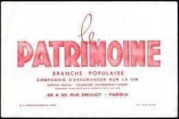 Buvard : Le Patrimoine, Cie. D'assurances Sur La Vie, Rue Drouot à Paris - IX - Banque & Assurance