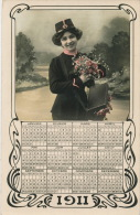 FEMMES - FRAU - LADY - Jolie Carte Fantaisie Femme Factrice Avec Calendrier De 1911 - Neujahr