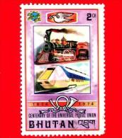 BHUTAN - Usato - 1974 - 100 Anni Dell'U.P.U. - Unione Postale Universale - Locomotiva E Treno Veloce - 2 - Bhutan