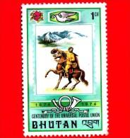 BHUTAN - Usato - 1974 - 100 Anni Dell'U.P.U. - Unione Postale Universale - Postino A Cavallo - Mailman On Horseback - 1 - Bhutan