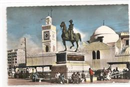 § PROMO § ALGERIE - ALGER Place Du Gouvenement Statue Du Duc D'Orléans Et Mosquée écrite Timbrée - Algerien