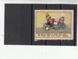 Vignette, Werbemarke, Firma Kornfranck Malzkaffee, Ludwigsburg, Zwerg Mit Baby, Ca. 1910 - Alte Papiere
