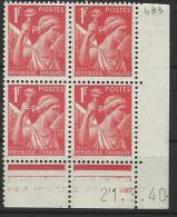 """FR Coins Datés YT 433 """" Iris 1F.00 Rouge """" Neuf* Du 21.3.40 - 1940-1949"""