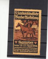 Vignette, Werbemarke, Hannover, 27. Landwirtschaftliche Ausstellung, Pferd Mit Fohlen, 1914 - Alte Papiere