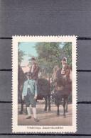 Vignette, Werbemarke, Niederbayerische Bauernburschen Zu Pferde, Ca. 1910 - Alte Papiere