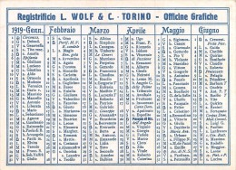 """02116 """"CALENDARIETTO 1919 - REGISTRIFICIO L. WOLF & C. - TORINO - OFFICINE GRAFICHE"""" - Tamaño Pequeño : 1901-20"""