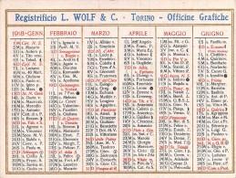 """02117 """"CALENDARIETTO 1918 - REGISTRIFICIO L. WOLF & C. - TORINO - OFFICINE GRAFICHE"""" - Calendriers"""