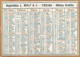 """02118 """"CALENDARIETTO 1921 - REGISTRIFICIO L. WOLF & C. - TORINO - OFFICINE GRAFICHE"""" - Calendars"""