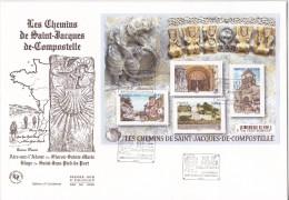 FDC 2015 - Moyenne  Enveloppe - Les Chemins De Saint-Jacques-de-Compostelle - 1er Jour Le 24.4.2015 à Paris - FDC