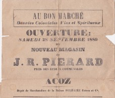 Acoz  Ouverture samedi 28 septembre 1889 du nouveau magasin de J.R. Pierard (avec liste des prix)