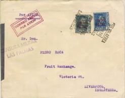 14200. Carta Aerea LAS PALMAS (canarias)  1938. CENSURA Militar, Guerra Civil - 1931-Today: 2nd Rep - ... Juan Carlos I