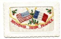 Carte Brodée Militaire : Souvenir Avec France  Et  USA         A   VOIR  !!! - Brodées