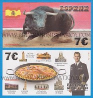 """ESPAGNE  7€ 19 - Junio - 2.014 """"Proclamación De FELIPE VI""""   SC/UNC/PLANCHA  T-DL-11.369  Fantasy Banknote - [ 8] Vals En Specimen"""