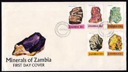 Zm0360f ZAMBIA 1982, SG 360-4 Minerals (1st Series)  FDC - Zambia (1965-...)
