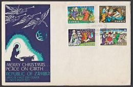 Zm0181f ZAMBIA 1972, SG 181-4   Christmas  FDC - Zambia (1965-...)