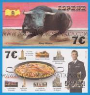 """SPAGNA 7€ 19 - Junio - 2.014 """"Proclamación De FELIPE VI""""   SC/UNC/PLANCHA  T-DL-11.369  Fantasy Banknote - [ 8] Falsi & Saggi"""