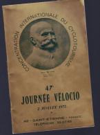 CONCENTRATION INERNATIONALE DU CYCLOTOURISME PAUL DE VIVIE ANNEE 1972 - Programmes