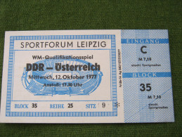 Old Soccer Footbal Ticket & Program Germany DDR - Austria Osterreich 12.10.1977 - Match Tickets